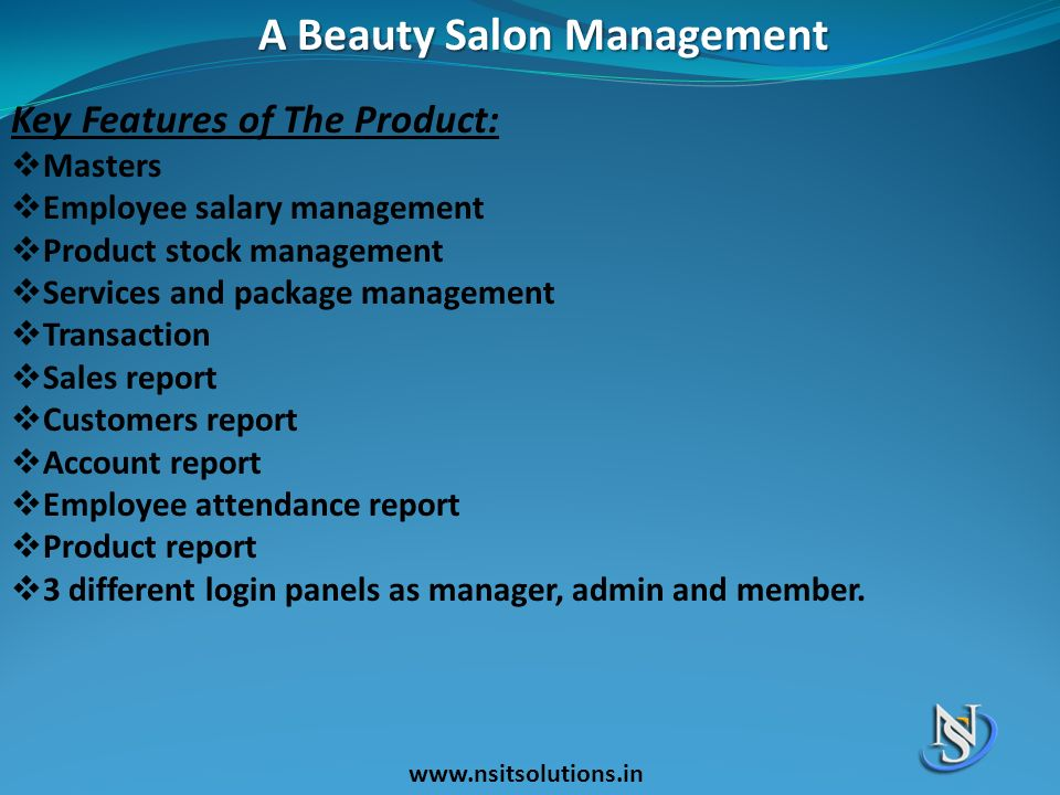 A Beauty Salon Management Key Features of The Product:  Masters