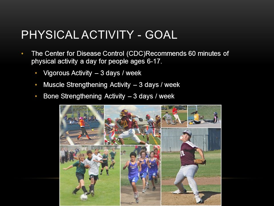 PHYSICAL ACTIVITY - GOAL The Center for Disease Control (CDC)Recommends 60 minutes of physical activity a day for people ages 6-17.