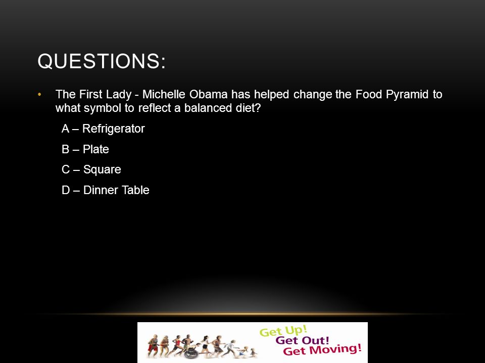 QUESTIONS: The First Lady - Michelle Obama has helped change the Food Pyramid to what symbol to reflect a balanced diet.