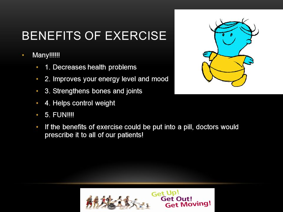 BENEFITS OF EXERCISE Many!!!!!. 1. Decreases health problems 2.