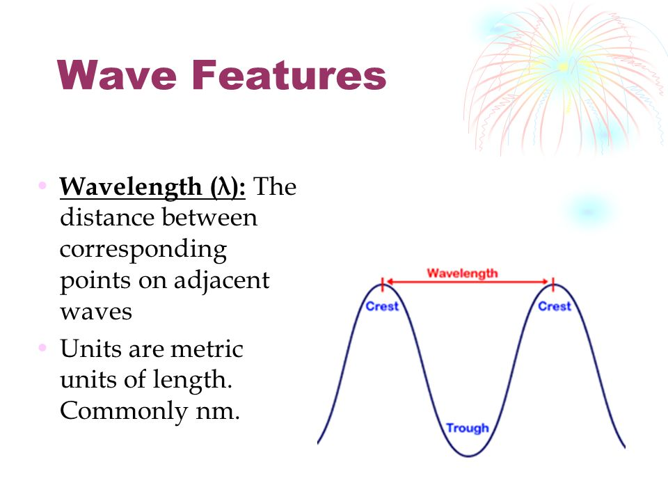 Wave Features Wavelength (λ): The distance between corresponding points on adjacent waves Units are metric units of length.
