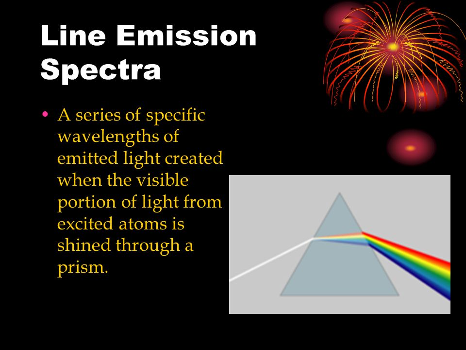 Line Emission Spectra A series of specific wavelengths of emitted light created when the visible portion of light from excited atoms is shined through a prism.