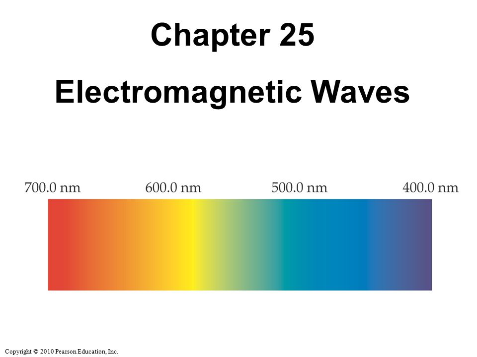 Copyright © 2010 Pearson Education, Inc. Chapter 25 Electromagnetic Waves