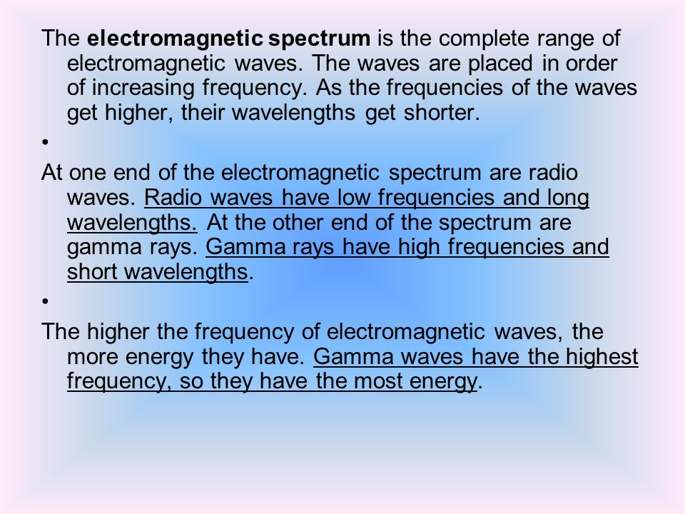The electromagnetic spectrum is the complete range of electromagnetic waves.