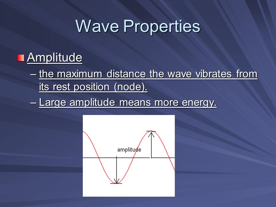 Wave Properties Amplitude –the maximum distance the wave vibrates from its rest position (node).