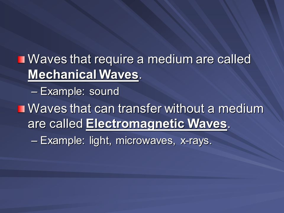 Waves that require a medium are called Mechanical Waves.