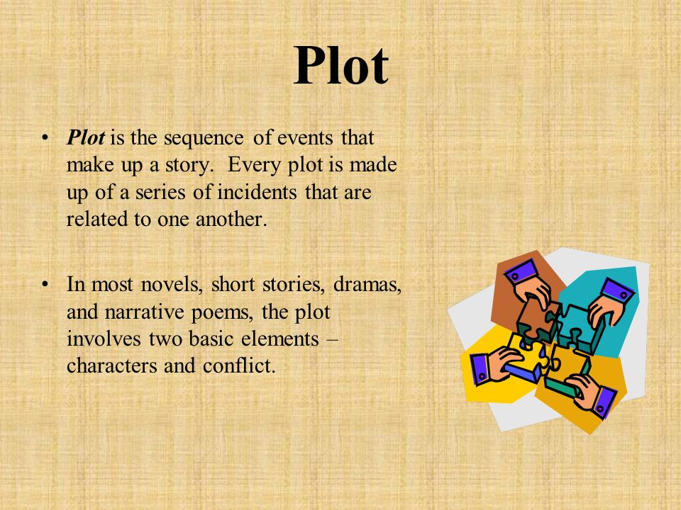 Plot Plot is the sequence of events that make up a story.