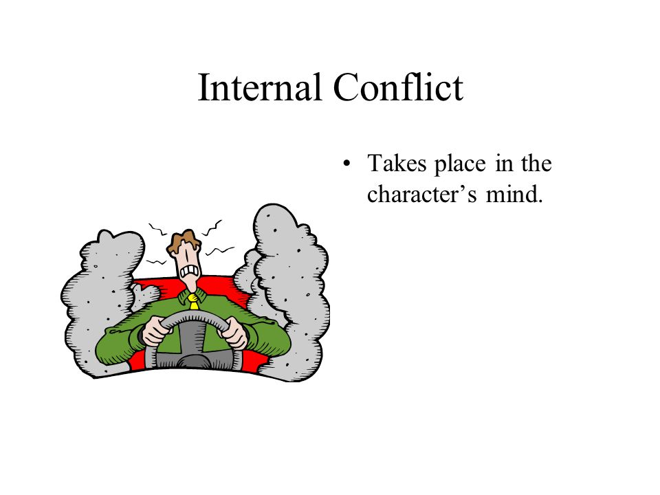 Internal Conflict Takes place in the character's mind.