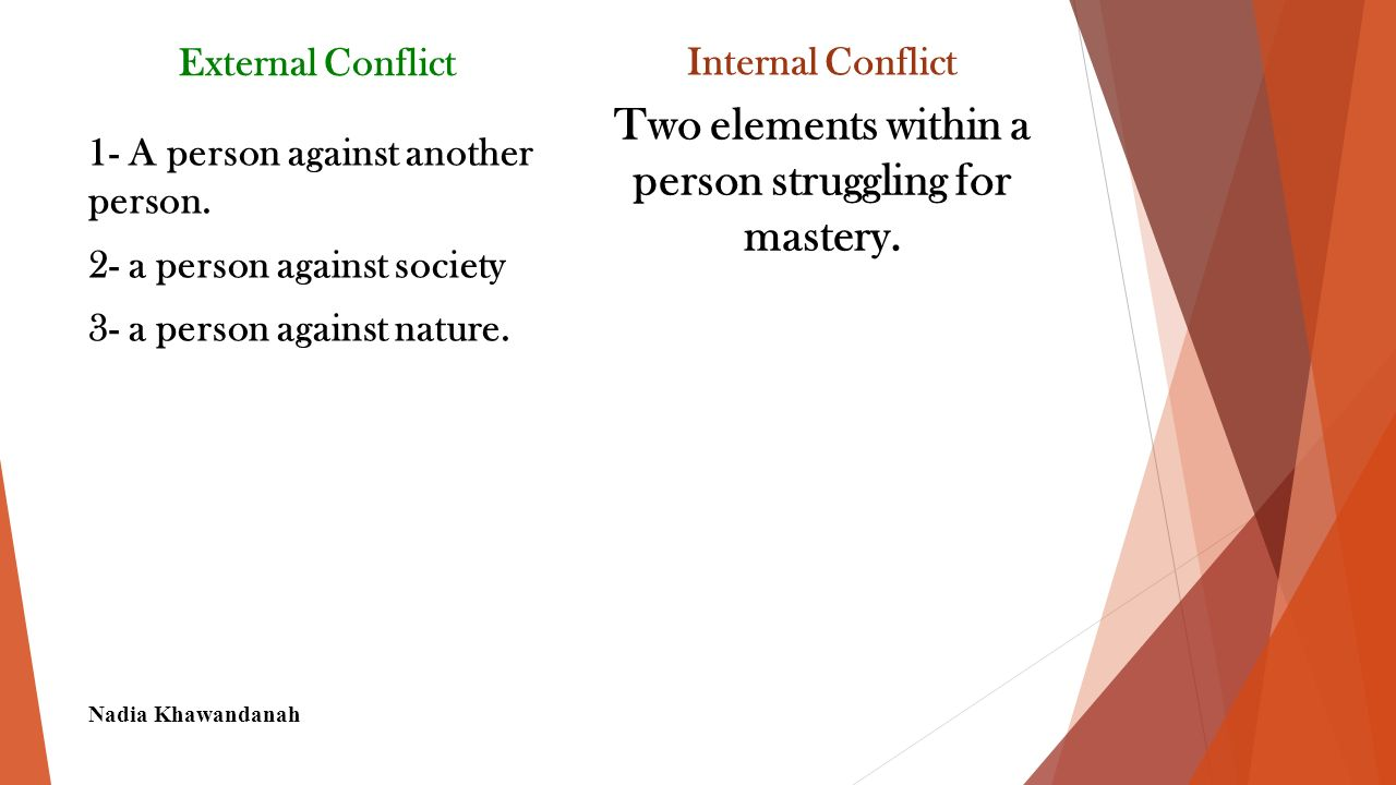 Conflict A struggle between two opposing forces or characters in a short story, novel, play or narrative poem.