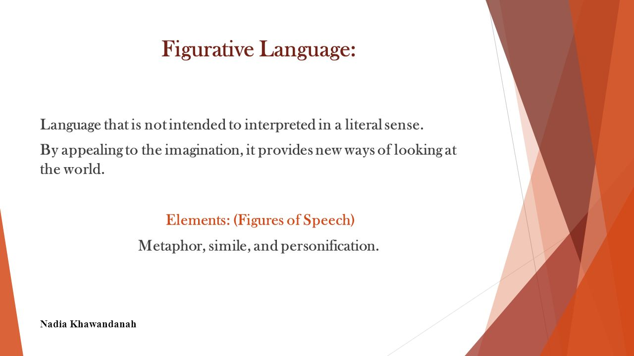 Imagery Language that appeals to any sense or any combination of senses.