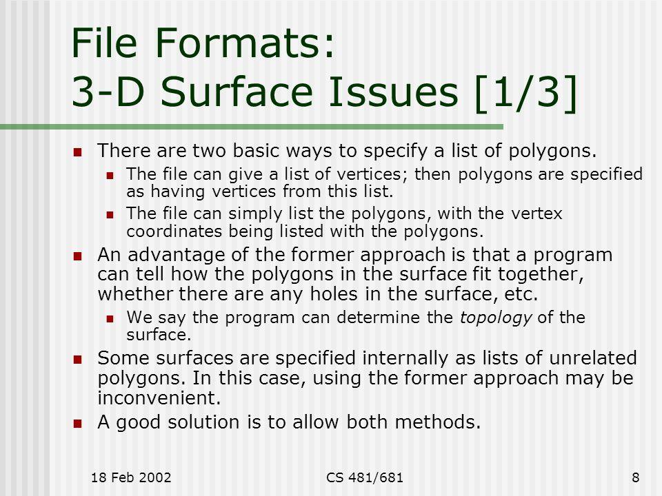 Polygon Lists & 3-D File Formats Glenn G  Chappell U  of