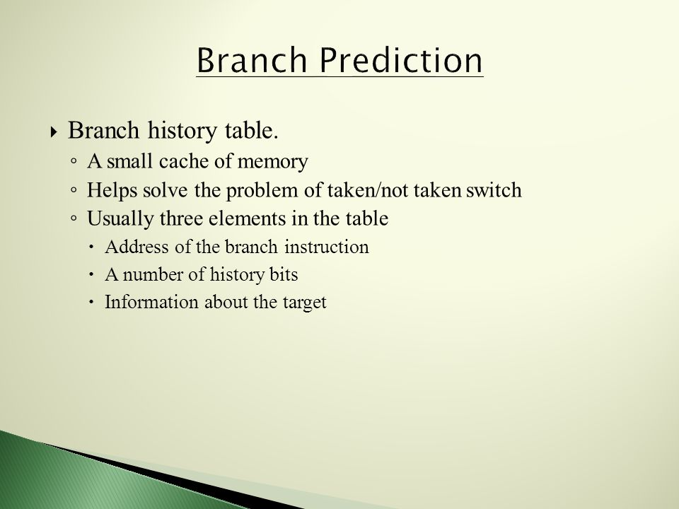 Branch history table.