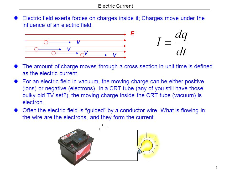1 Electric Current Electric field exerts forces on charges inside it; Charges move under the influence of an electric field.