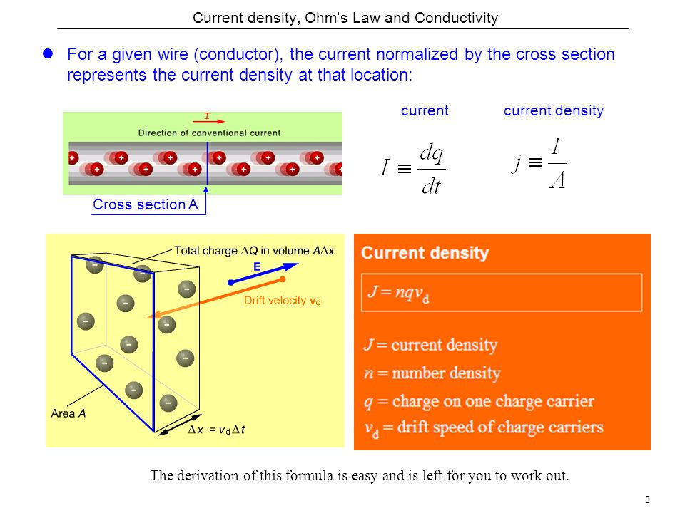 3 Current density, Ohm's Law and Conductivity For a given wire (conductor), the current normalized by the cross section represents the current density at that location: Cross section A current densitycurrent The derivation of this formula is easy and is left for you to work out.