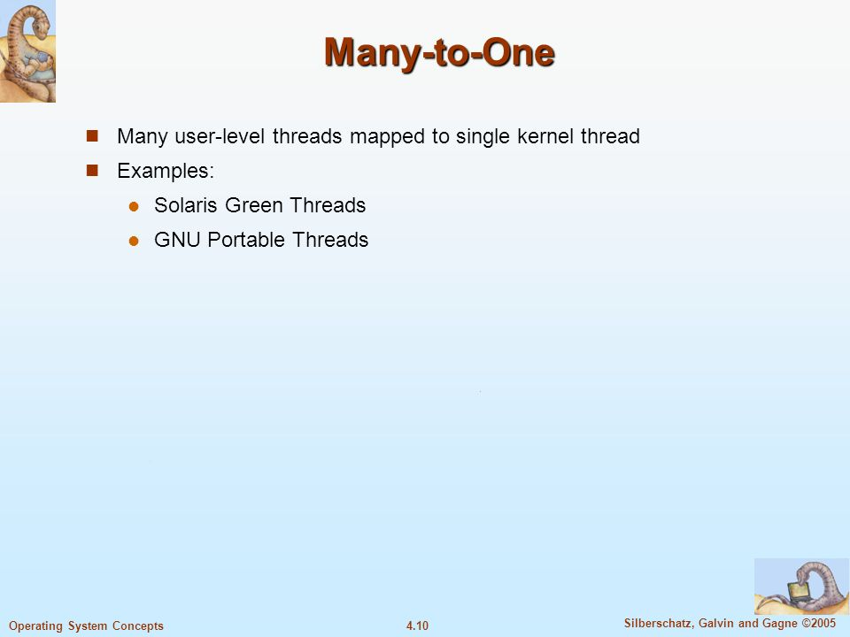 4.10 Silberschatz, Galvin and Gagne ©2005 Operating System Concepts Many-to-One Many user-level threads mapped to single kernel thread Examples: Solaris Green Threads GNU Portable Threads