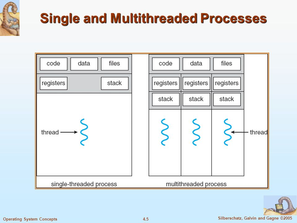 4.5 Silberschatz, Galvin and Gagne ©2005 Operating System Concepts Single and Multithreaded Processes
