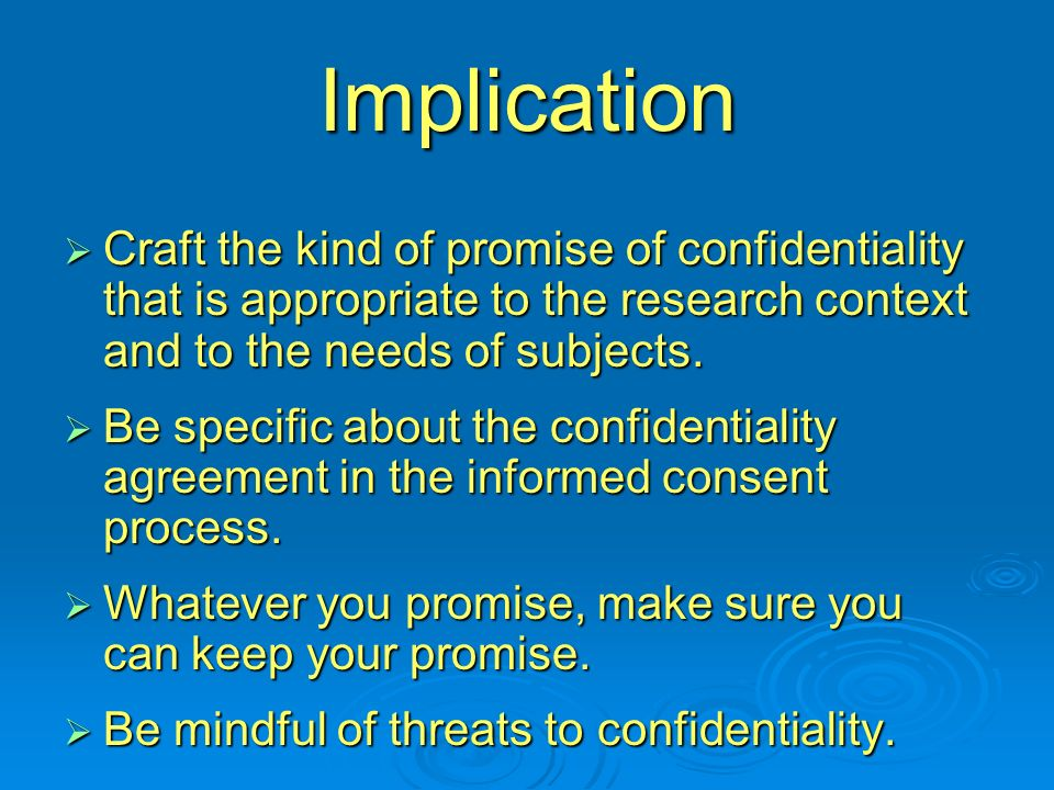 Privacy Confidentiality By Joan Sieber California State University