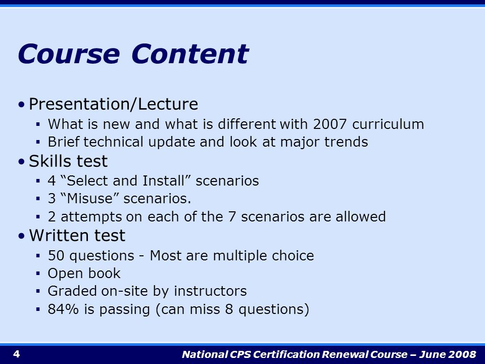 Certification Renewal Course 2 National Cps Certification Renewal