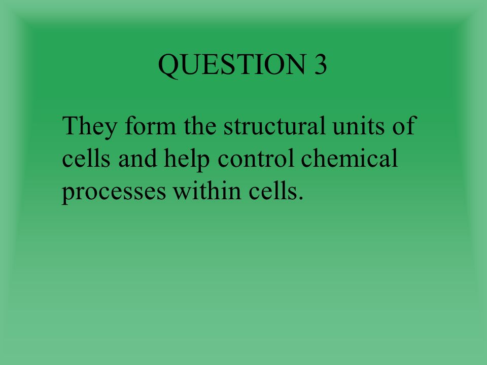 QUESTION 3 They form the structural units of cells and help control chemical processes within cells.