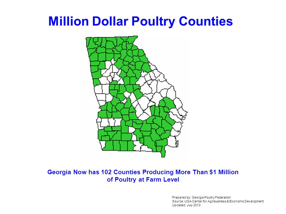 Million Dollar Poultry Counties Georgia Now Has 102 Counties