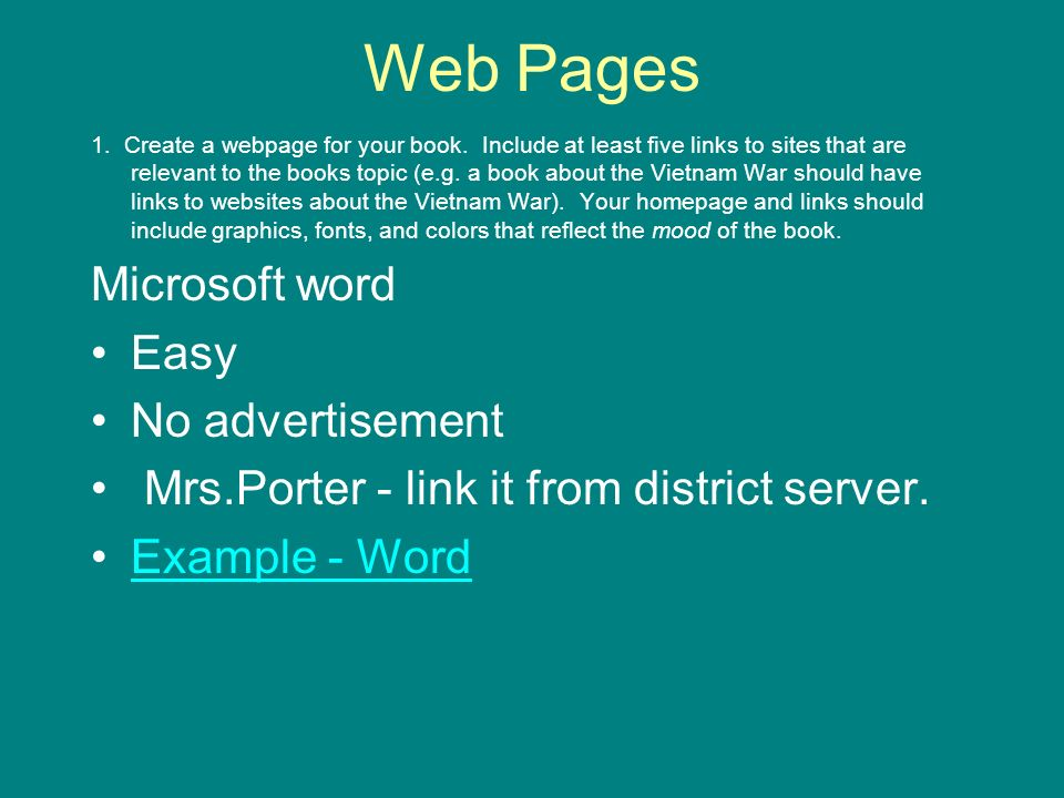 8th Grade Ela Book Report And Technology Web Pages 1 Create A