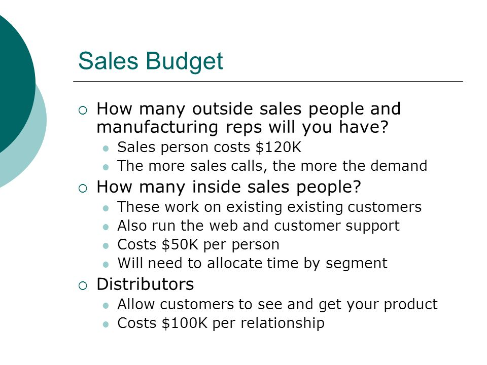 Sales Budget  How many outside sales people and manufacturing reps will you have.
