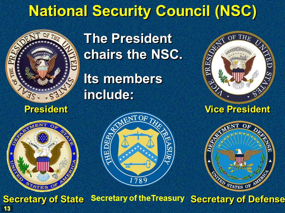 13 National Security Council (NSC) The President chairs the NSC.