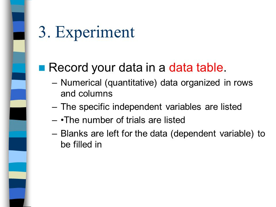 3. Experiment Record your data in a data table.