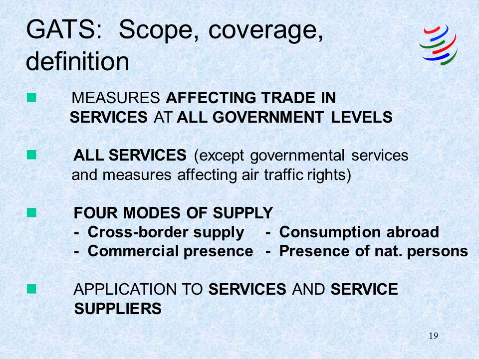 1 International Trade Service SERVICES TRADE UNDER THE GATS