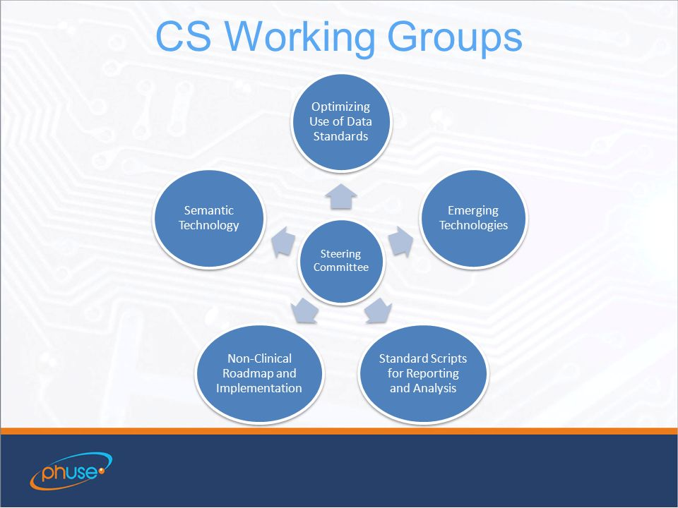 CS Working Groups Steering Committee Optimizing Use of Data Standards Emerging Technologies Standard Scripts for Reporting and Analysis Non-Clinical Roadmap and Implementation Semantic Technology