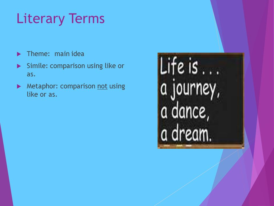 Literary Terms  Theme: main idea  Simile: comparison using like or as.