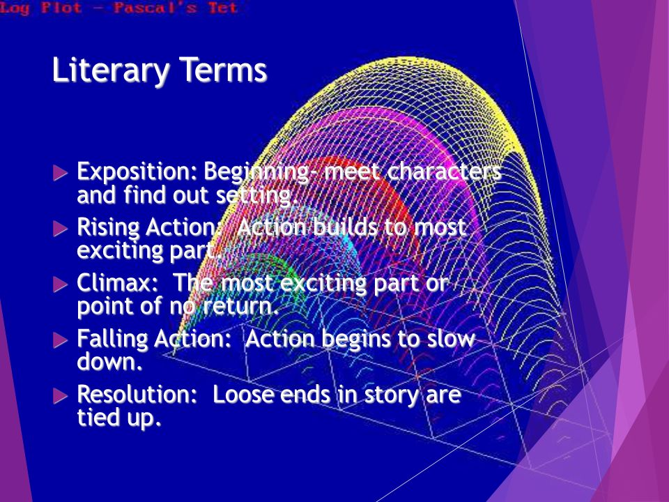 Literary Terms  Exposition: Beginning- meet characters and find out setting.