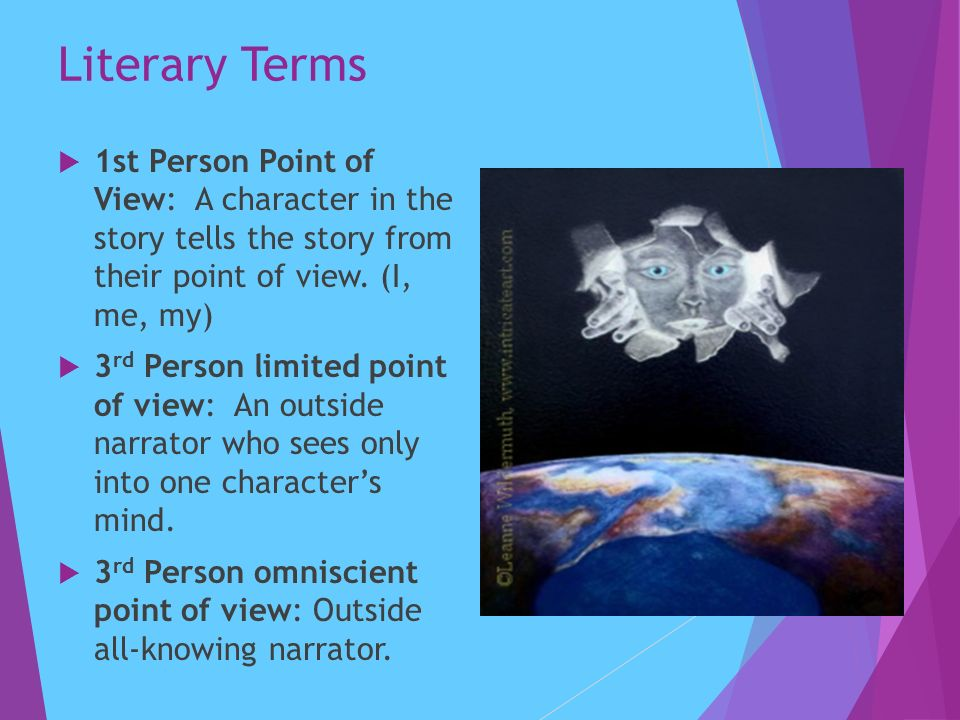 Literary Terms  1st Person Point of View: A character in the story tells the story from their point of view.