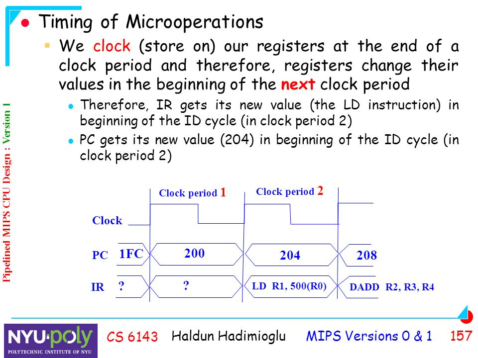 Haldun Hadimioglu MIPS Versions 0 & CS 6143 Timing of Microoperations  We clock (store on) our registers at the end of a clock period and therefore, registers change their values in the beginning of the next clock period Therefore, IR gets its new value (the LD instruction) in beginning of the ID cycle (in clock period 2) PC gets its new value (204) in beginning of the ID cycle (in clock period 2) Clock Clock period 1 Clock period 2 PC FC IR .