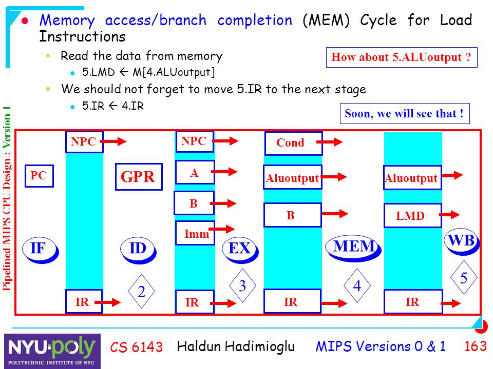Haldun Hadimioglu MIPS Versions 0 & CS 6143 Memory access/branch completion (MEM) Cycle for Load Instructions  Read the data from memory 5.LMD  M[4.ALUoutput]  We should not forget to move 5.IR to the next stage 5.IR  4.IR How about 5.ALUoutput .