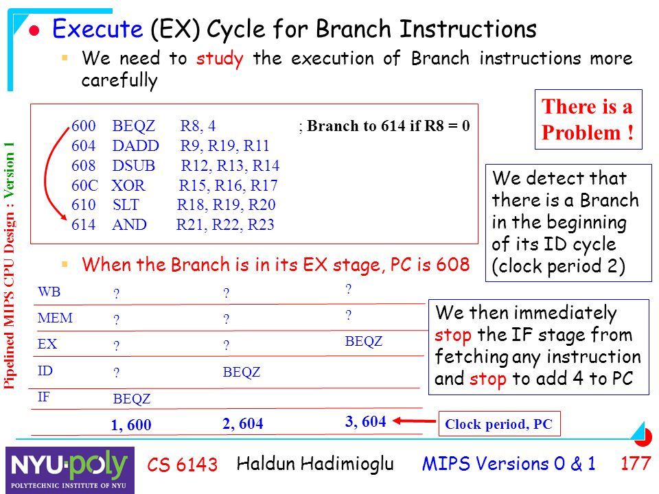 Haldun Hadimioglu MIPS Versions 0 & CS 6143 Execute (EX) Cycle for Branch Instructions  We need to study the execution of Branch instructions more carefully  When the Branch is in its EX stage, PC is BEQZ R8, 4 ; Branch to 614 if R8 = DADD R9, R19, R DSUB R12, R13, R14 60C XOR R15, R16, R SLT R18, R19, R AND R21, R22, R23 WB MEM EX ID IF .