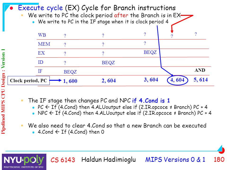 Haldun Hadimioglu MIPS Versions 0 & CS 6143 Execute cycle (EX) Cycle for Branch instructions  We write to PC the clock period after the Branch is in EX We write to PC in the IF stage when it is clock period 4  The IF stage then changes PC and NPC if 4.Cond is 1 PC  If (4.Cond) then 4.ALUoutput else if (2.IR.opcoce ≠ Branch) PC + 4 NPC  If (4.Cond) then 4.ALUoutput else if (2.IR.opcoce ≠ Branch) PC + 4  We also need to clear 4.Cond so that a new Branch can be executed 4.Cond  If (4.Cond) then 0 WB MEM EX ID IF .