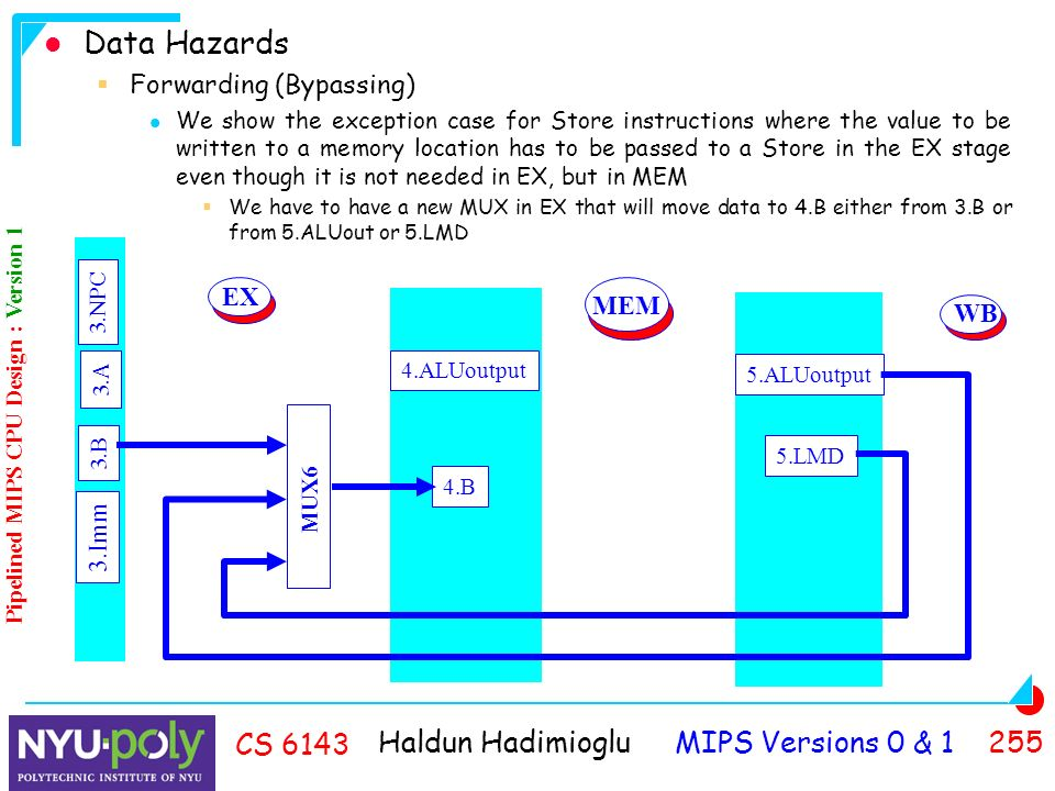 Haldun Hadimioglu MIPS Versions 0 & CS 6143 Data Hazards  Forwarding (Bypassing) We show the exception case for Store instructions where the value to be written to a memory location has to be passed to a Store in the EX stage even though it is not needed in EX, but in MEM  We have to have a new MUX in EX that will move data to 4.B either from 3.B or from 5.ALUout or 5.LMD 4.ALUoutput 4.B 5.ALUoutput 5.LMD MEM WB Pipelined MIPS CPU Design : Version 1 EX MUX6 3.B 3.Imm 3.A 3.NPC