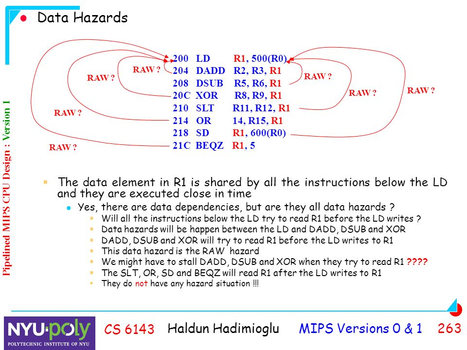 Haldun Hadimioglu MIPS Versions 0 & CS 6143 Data Hazards  The data element in R1 is shared by all the instructions below the LD and they are executed close in time Yes, there are data dependencies, but are they all data hazards .