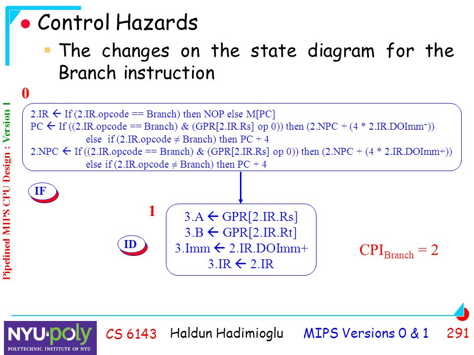 Haldun Hadimioglu MIPS Versions 0 & CS 6143 Control Hazards  The changes on the state diagram for the Branch instruction 0 IF 3.A  GPR[2.IR.Rs] 3.B  GPR[2.IR.Rt] 3.Imm  2.IR.DOImm+ 3.IR  2.IR 1 ID CPI Branch = 2 Pipelined MIPS CPU Design : Version 1 2.IR  If (2.IR.opcode == Branch) then NOP else M[PC] PC  If ((2.IR.opcode == Branch) & (GPR[2.IR.Rs] op 0)) then (2.NPC + (4 * 2.IR.DOImm + )) else if (2.IR.opcode ≠ Branch) then PC NPC  If ((2.IR.opcode == Branch) & (GPR[2.IR.Rs] op 0)) then (2.NPC + (4 * 2.IR.DOImm+)) else if (2.IR.opcode ≠ Branch) then PC + 4