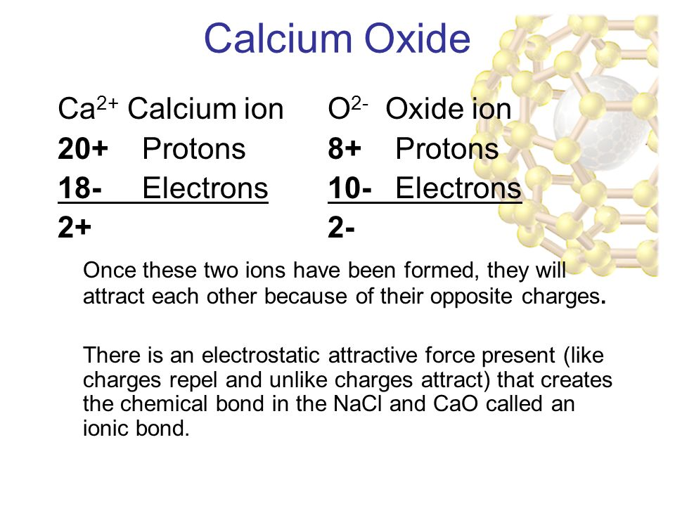 Calcium Oxide Ca 2+ Calcium ionO 2- Oxide ion 20+ Protons8+ Protons 18- Electrons10- Electrons Once these two ions have been formed, they will attract each other because of their opposite charges.