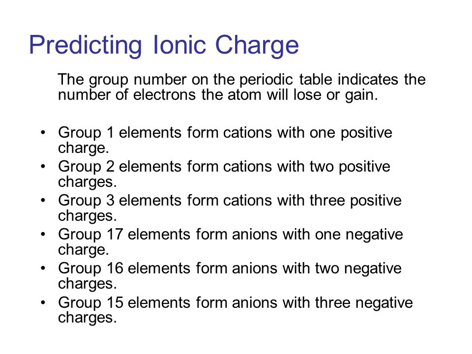 The group number on the periodic table indicates the number of electrons the atom will lose or gain.