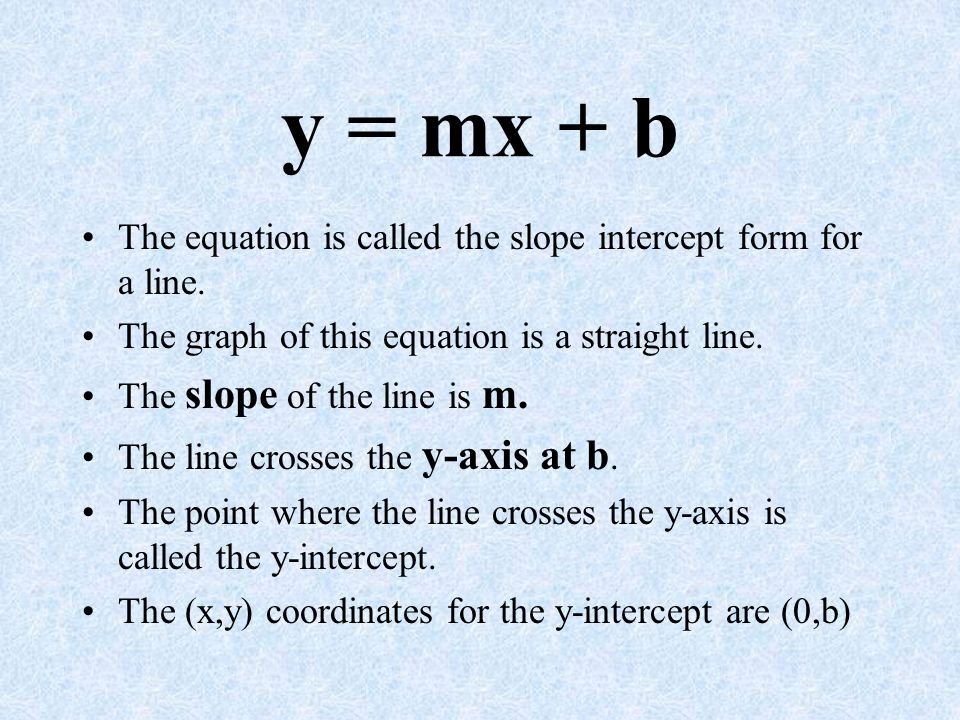 slope intercept form labeled  y = mx + b The equation is called the slope intercept form ...