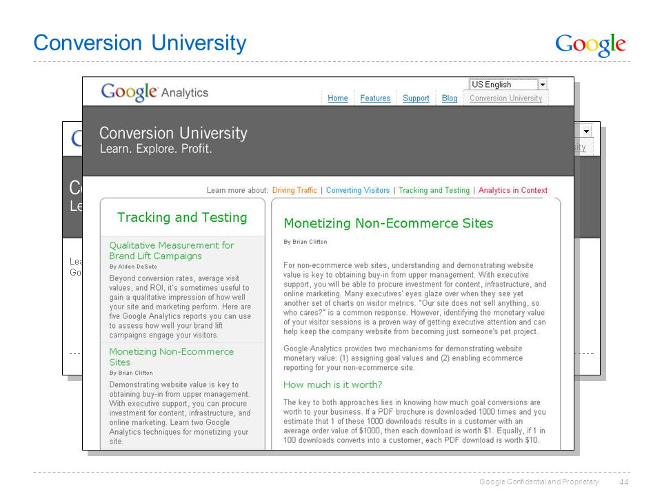 Google Confidential and Proprietary Conversion University 44