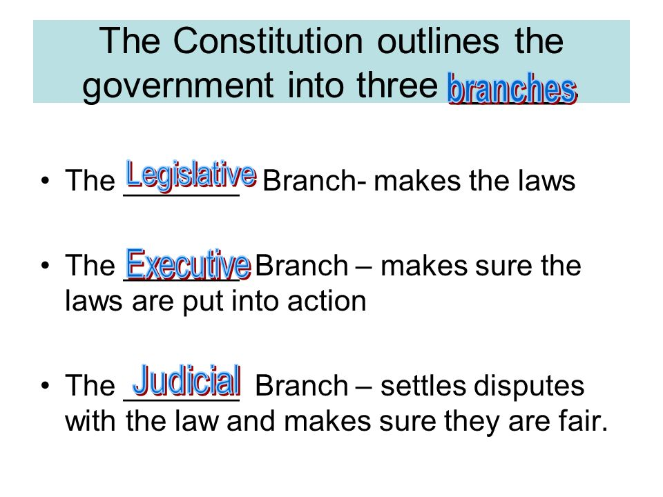 The Constitution outlines the government into three ______.