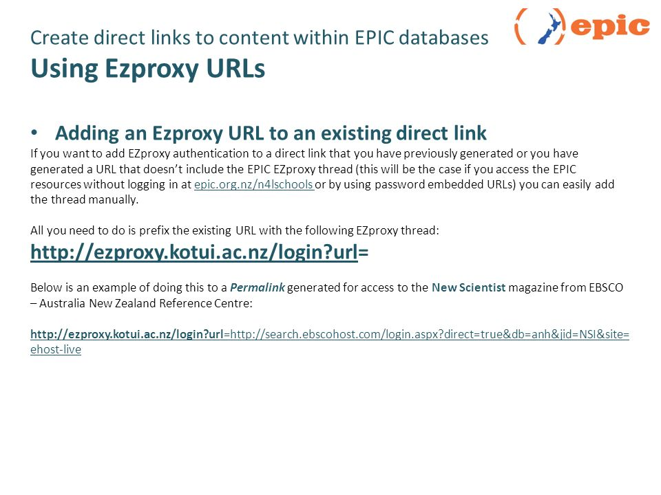 Create direct links to Content  Create direct links to specific EPIC