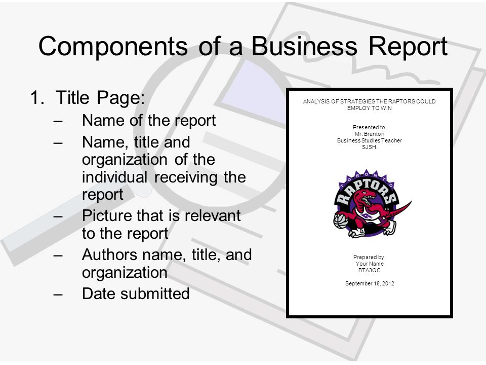 how to prepare a business report