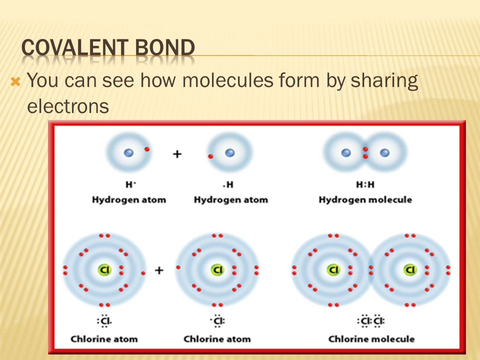  You can see how molecules form by sharing electrons