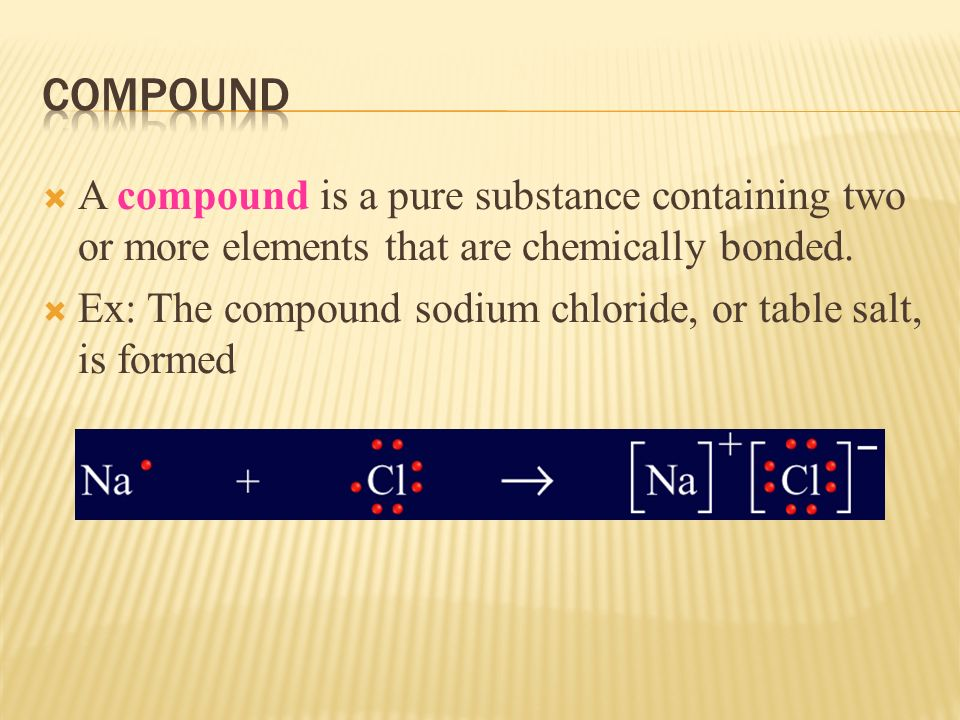  A compound is a pure substance containing two or more elements that are chemically bonded.