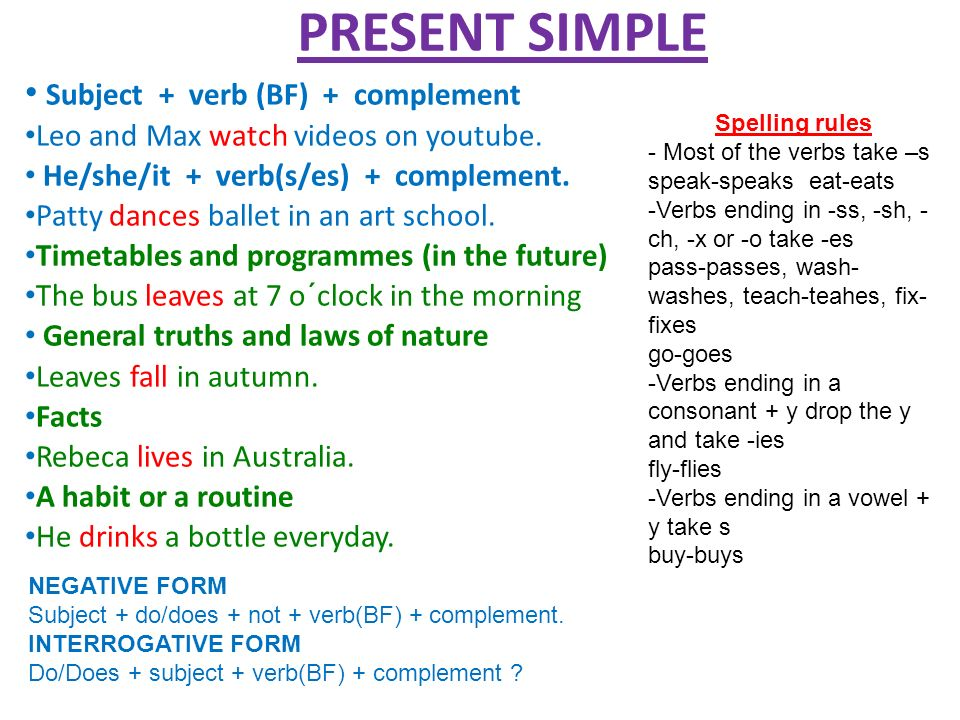 PRESENT SIMPLE Subject + verb (BF) + complement Leo and Max watch